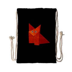 Dark Cute Origami Fox Drawstring Bag (small) by CreaturesStore