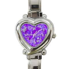 Lavender Swirls Heart Italian Charm Watch by KirstenStar