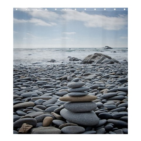 Gray Stacking Stones Zen Balance By Pamela Sue Goforth   Shower Curtain 66  X 72  (large)   D4dxvejvrusi   Www Artscow Com 58.75 x64.8 Curtain