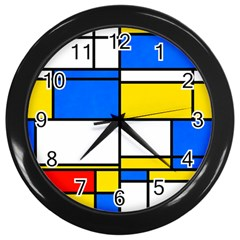 Colorful Rectangles Wall Clock (black) by LalyLauraFLM
