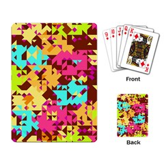 Shapes In Retro Colors Playing Cards Single Design by LalyLauraFLM