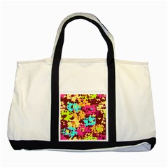 Shapes In Retro Colors Two Tone Tote Bag by LalyLauraFLM