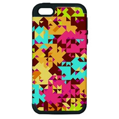 Shapes In Retro Colors Apple Iphone 5 Hardshell Case (pc+silicone) by LalyLauraFLM