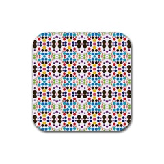 Colorful Dots Pattern Rubber Square Coaster (4 Pack) by LalyLauraFLM