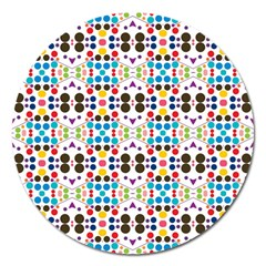 Colorful Dots Pattern Magnet 5  (round) by LalyLauraFLM