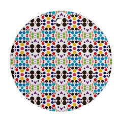 Colorful Dots Pattern Round Ornament (two Sides) by LalyLauraFLM