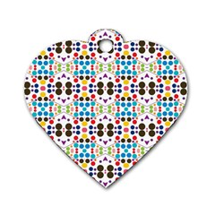 Colorful Dots Pattern Dog Tag Heart (one Side) by LalyLauraFLM