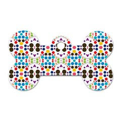 Colorful Dots Pattern Dog Tag Bone (one Side) by LalyLauraFLM