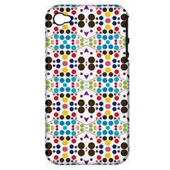 Colorful Dots Pattern Apple Iphone 4/4s Hardshell Case (pc+silicone) by LalyLauraFLM