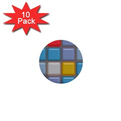 Shiny Squares Pattern 1  Mini Button (10 Pack)  by LalyLauraFLM