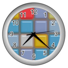 Shiny Squares Pattern Wall Clock (silver) by LalyLauraFLM
