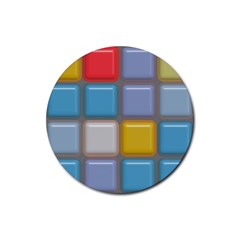Shiny Squares Pattern Rubber Coaster (round) by LalyLauraFLM
