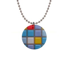 Shiny Squares Pattern 1  Button Necklace