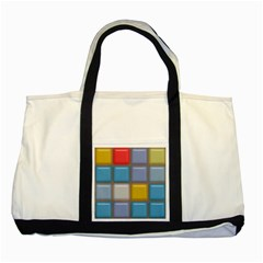Shiny Squares Pattern Two Tone Tote Bag by LalyLauraFLM