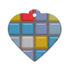 Shiny Squares Pattern Dog Tag Heart (one Side) by LalyLauraFLM