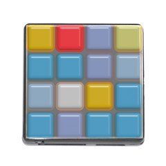 Shiny Squares Pattern Memory Card Reader (square) by LalyLauraFLM