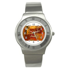 India Print Realism Fabric Art Stainless Steel Watches by TheWowFactor