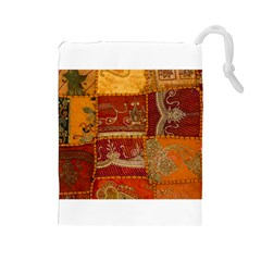 India Print Realism Fabric Art Drawstring Pouches (large)  by TheWowFactor