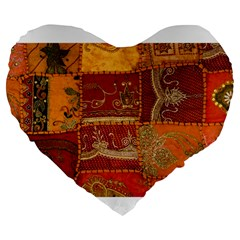 India Print Realism Fabric Art Large 19  Premium Flano Heart Shape Cushions by TheWowFactor