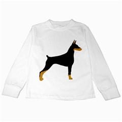 Doberman Pinscher black and tan silhouette Kids Long Sleeve T-Shirts
