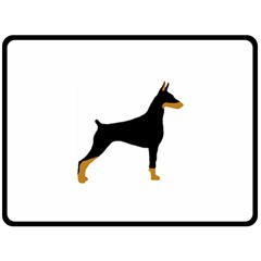 Doberman Pinscher black and tan silhouette Double Sided Fleece Blanket (Large)  by TailWags