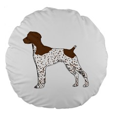 German Shorthair Pointer Silo Color Large 18  Premium Flano Round Cushions by TailWags