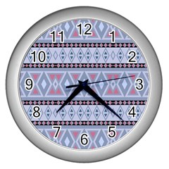 Fancy Tribal Border Pattern Blue Wall Clocks (silver)  by ImpressiveMoments