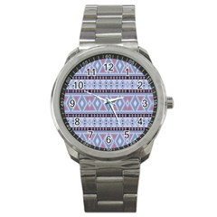 Fancy Tribal Border Pattern Blue Sport Metal Watches by ImpressiveMoments