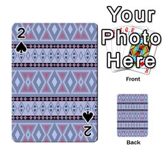 Fancy Tribal Border Pattern Blue Playing Cards 54 Designs  by ImpressiveMoments