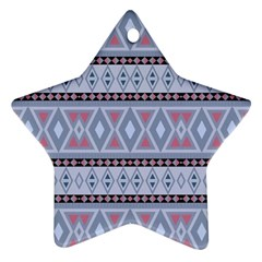 Fancy Tribal Border Pattern Blue Star Ornament (two Sides)  by ImpressiveMoments