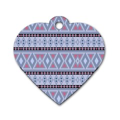 Fancy Tribal Border Pattern Blue Dog Tag Heart (two Sides) by ImpressiveMoments