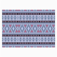 Fancy Tribal Border Pattern Blue Large Glasses Cloth (2 Side) by ImpressiveMoments