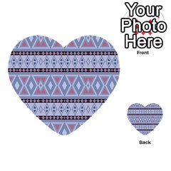 Fancy Tribal Border Pattern Blue Multi Purpose Cards (heart)