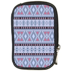 Fancy Tribal Border Pattern Blue Compact Camera Cases by ImpressiveMoments