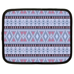 Fancy Tribal Border Pattern Blue Netbook Case (xxl)  by ImpressiveMoments