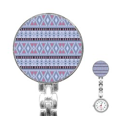 Fancy Tribal Border Pattern Blue Stainless Steel Nurses Watches by ImpressiveMoments