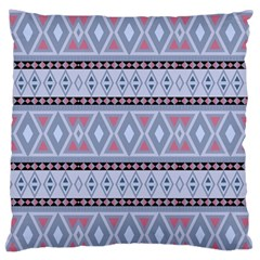 Fancy Tribal Border Pattern Blue Standard Flano Cushion Cases (two Sides)  by ImpressiveMoments