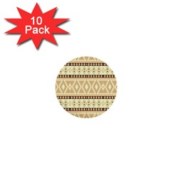 Fancy Tribal Border Pattern Beige 1  Mini Buttons (10 Pack)  by ImpressiveMoments