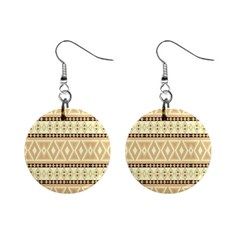 Fancy Tribal Border Pattern Beige Mini Button Earrings by ImpressiveMoments