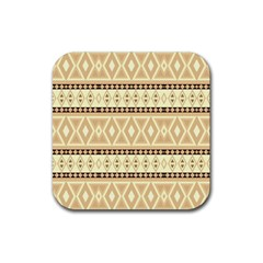 Fancy Tribal Border Pattern Beige Rubber Coaster (square)  by ImpressiveMoments