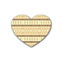 Fancy Tribal Border Pattern Beige Rubber Coaster (heart)  by ImpressiveMoments