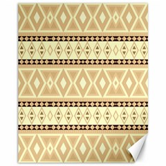 Fancy Tribal Border Pattern Beige Canvas 11  X 14   by ImpressiveMoments