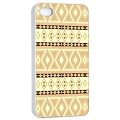 Fancy Tribal Border Pattern Beige Apple Iphone 4/4s Seamless Case (white) by ImpressiveMoments