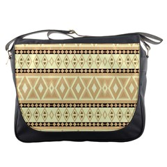 Fancy Tribal Border Pattern Beige Messenger Bags by ImpressiveMoments