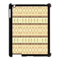 Fancy Tribal Border Pattern Beige Apple Ipad 3/4 Case (black) by ImpressiveMoments