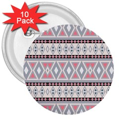 Fancy Tribal Border Pattern Soft 3  Buttons (10 Pack)  by ImpressiveMoments