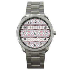 Fancy Tribal Border Pattern Soft Sport Metal Watches by ImpressiveMoments