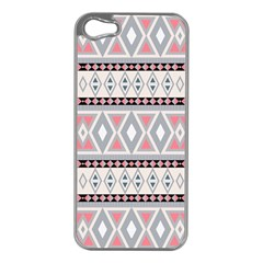 Fancy Tribal Border Pattern Soft Apple iPhone 5 Case (Silver) by ImpressiveMoments