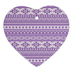 Fancy Tribal Borders Lilac Ornament (heart)  by ImpressiveMoments