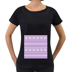 Fancy Tribal Borders Lilac Women s Loose Fit T Shirt (black)